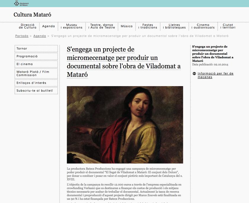 Notícia al web de l'Ajuntament de Mataró-Àrea de Cultura